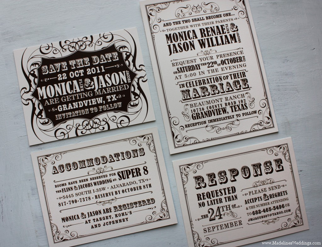 Brown And Cream Vintage Poster Style Wedding Invitations And Save The Date Ca