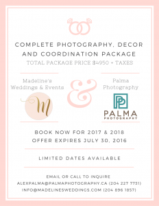 Winnipeg Wedding Photography, Decor & Coordination